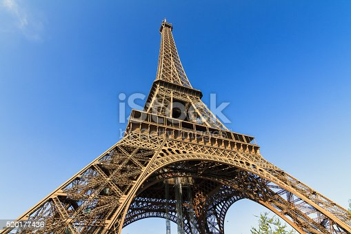 Beautiful view of the Eiffel tower seen from beneath with a blue sky in spring in Paris