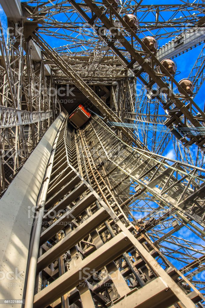 Eiffel Tour and its elevator, Paris , France royalty-free stock photo