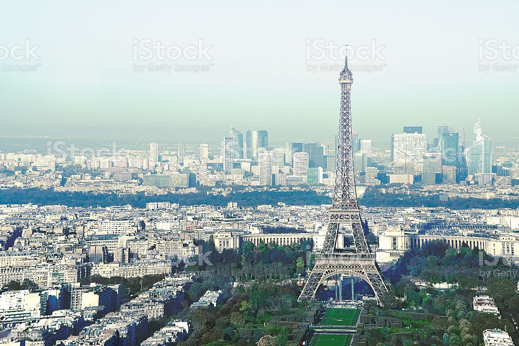 Eiffel Tower Aerial View stock photo