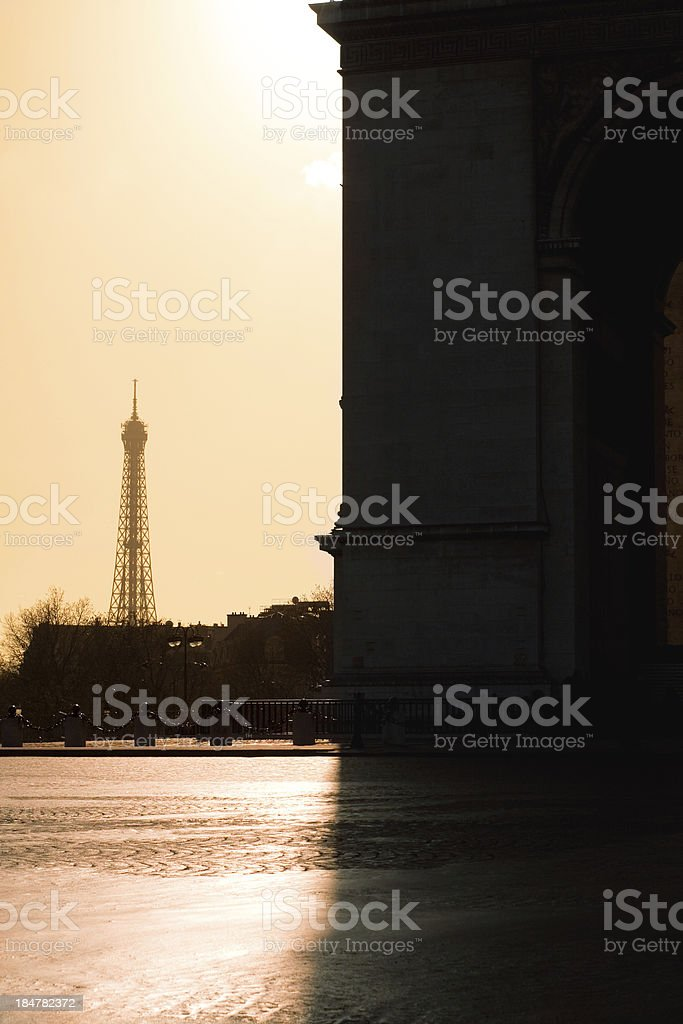 Eiffel Tower and Arc de Triomphe royalty-free stock photo
