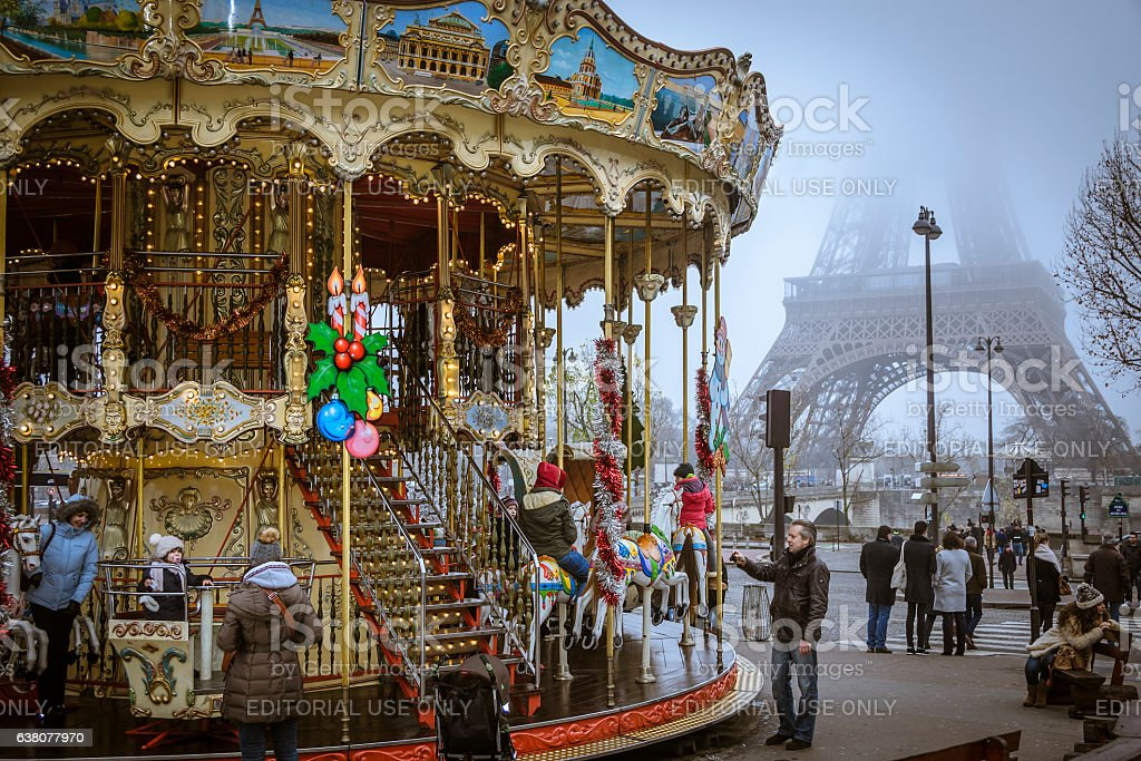 Eiffel Tower and carousel stock photo
