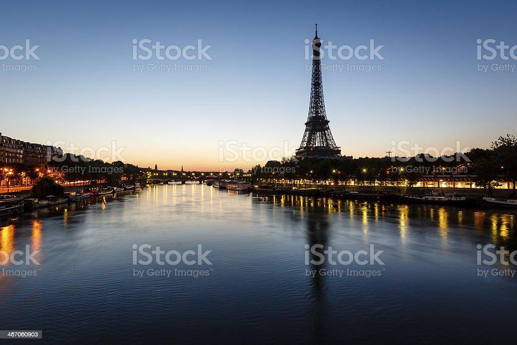 Eiffel Tower and d'Iena Bridge at Dawn, Paris, France stock photo