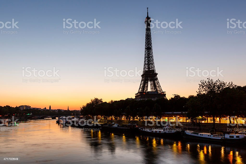 Eiffel Tower and d'Iena Bridge at Dawn, Paris, France royalty-free stock photo