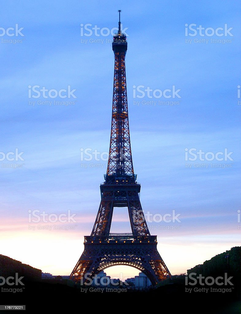 eiffel tower and dusk royalty-free stock photo