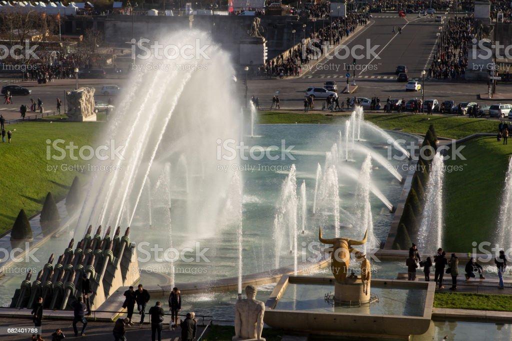 Eiffel Tower and fountain at Jardins du Trocadero, Paris royalty-free stock photo