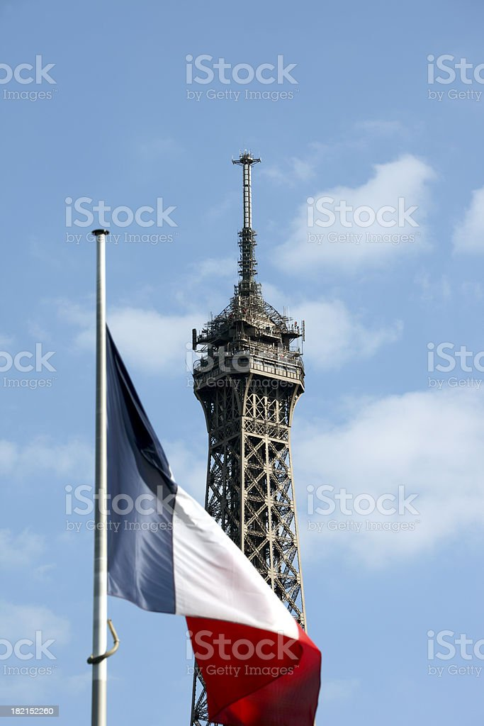 Eiffel Tower and French Flag, Paris stock photo