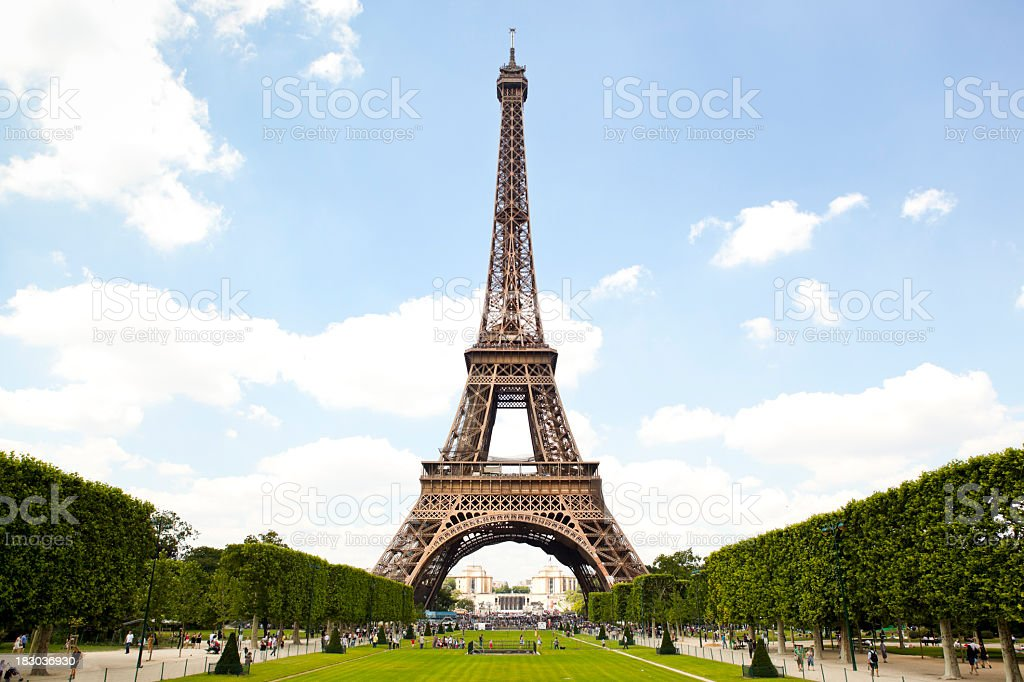 Eiffel Tower and garden in Paris, France stock photo