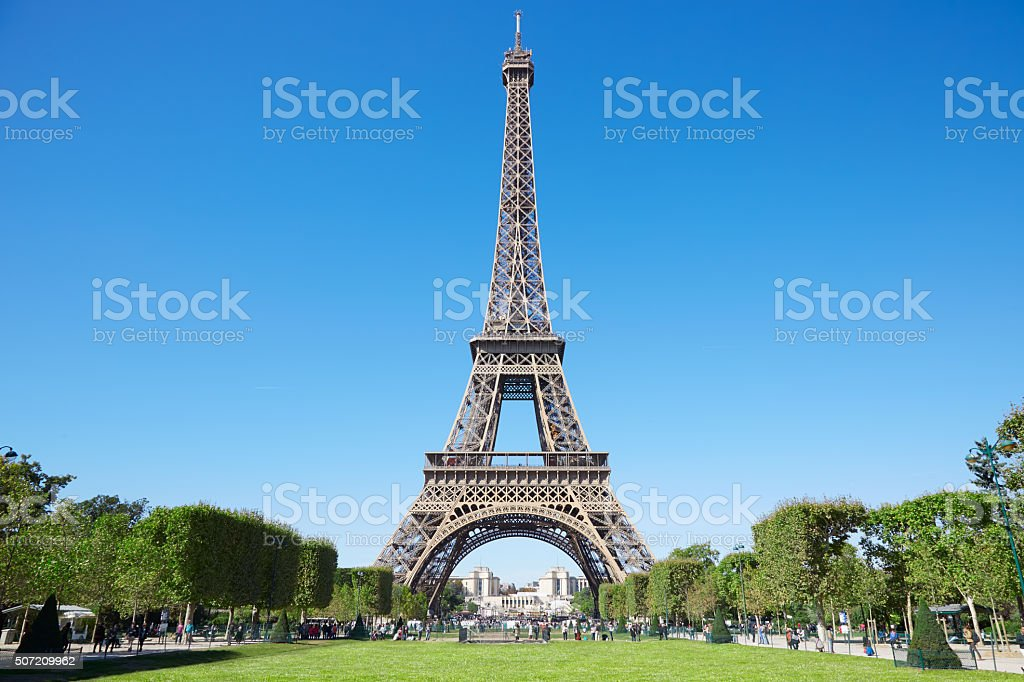 Eiffel tower and green Field of Mars in Paris stock photo
