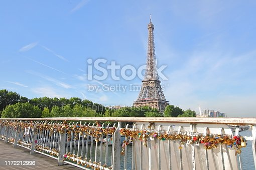 Paris France - May 23, 2019: Eiffel tower and love lock padlock cityscape Paris France