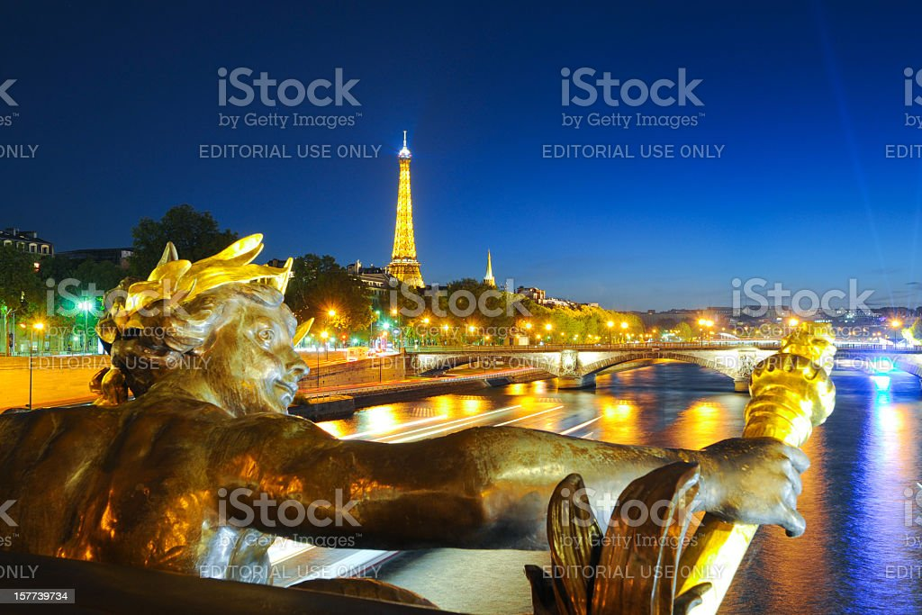 Eiffel Tower and Pont Alexandre III stock photo