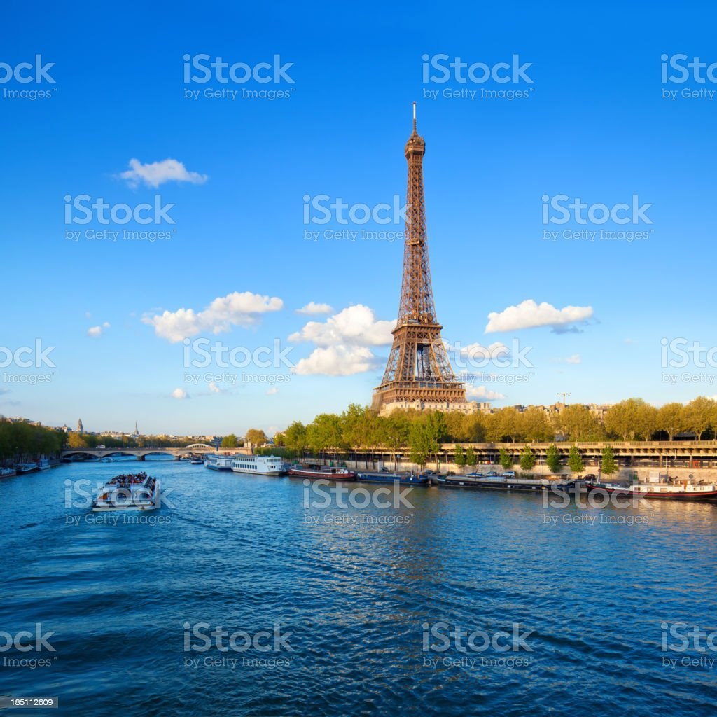 Eiffel Tower and River Seine stock photo