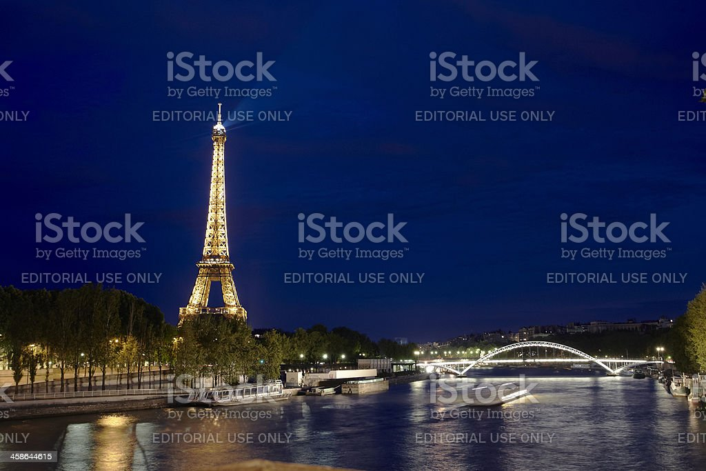 eiffel tower and seina river stock photo