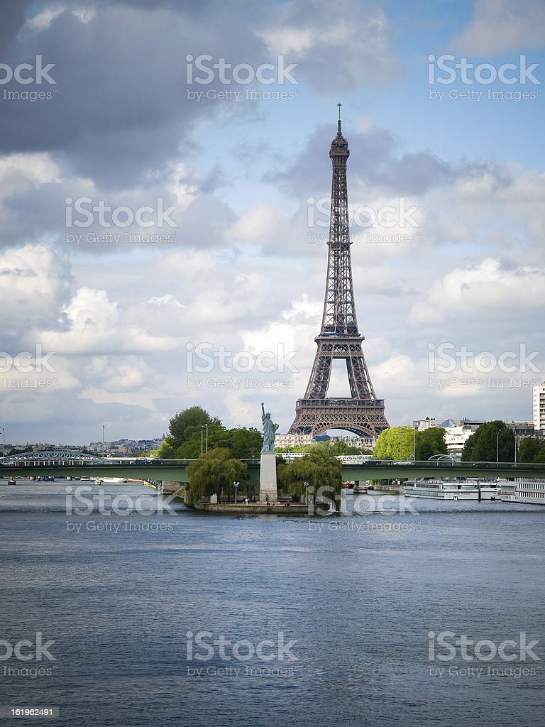 Eiffel Tower and Statue of Liberty stock photo