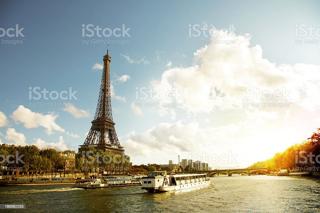 Eiffel Tower and the river seine royalty-free stock photo