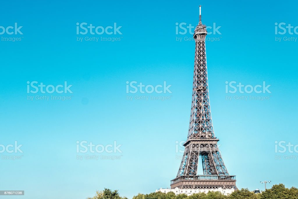 Eiffel Tower and The Seine River in Paris, France stock photo