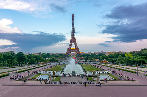 Eiffel Tower and Trocadero square, Paris, France