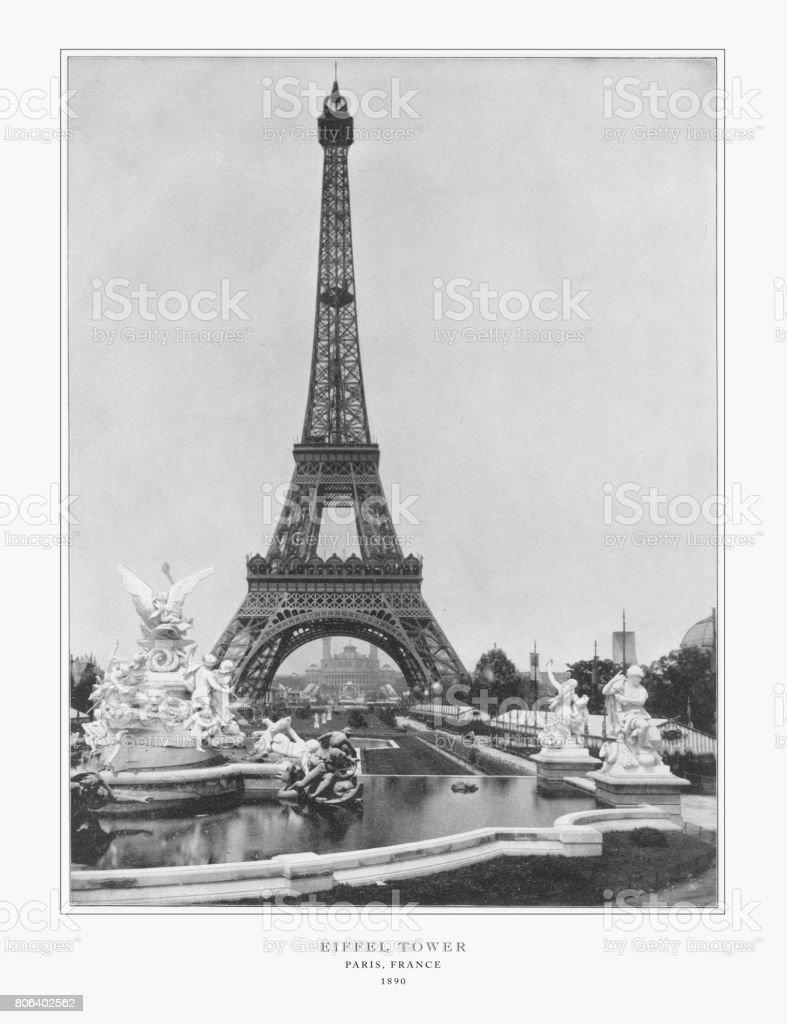 Eiffel Tower, Antique Paris Photograph, 1893 stock photo