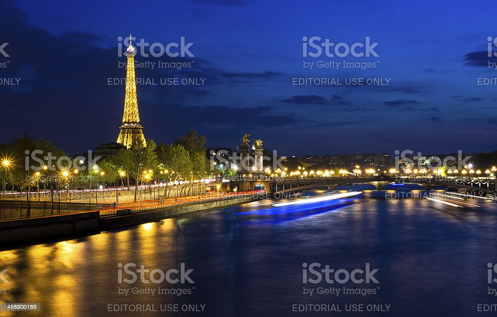 Eiffel tower at night. stock photo