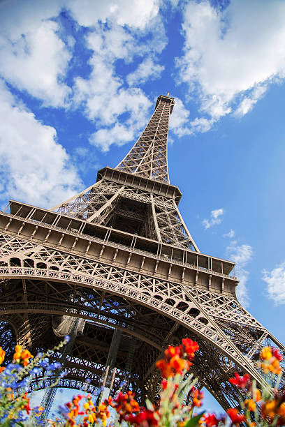 Eiffel Tower at Paris spring stock photo