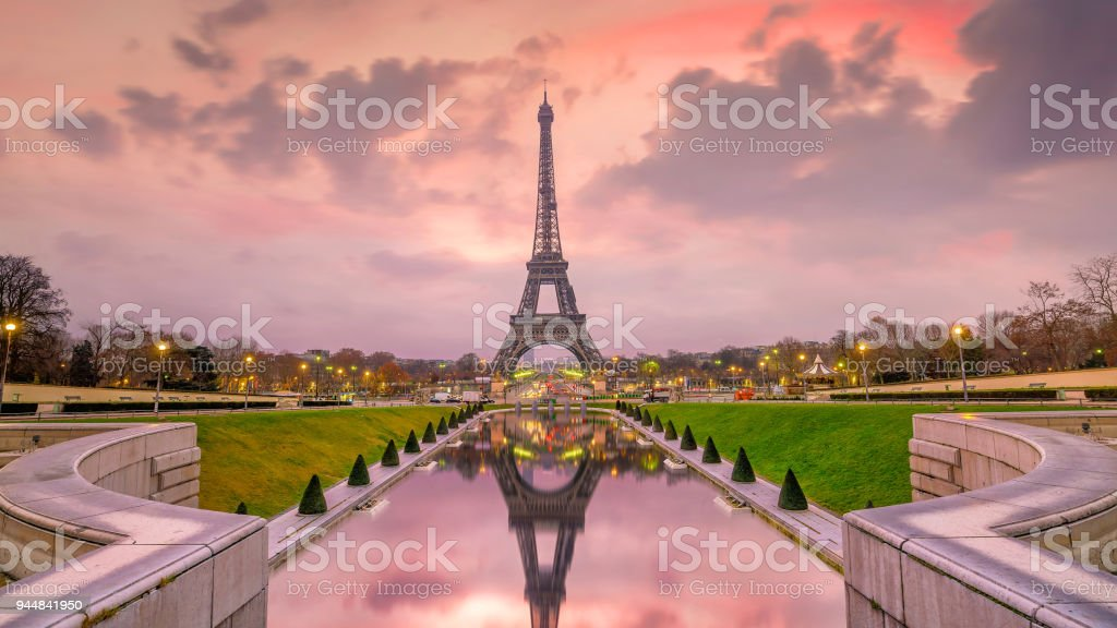Eiffel Tower at sunrise from Trocadero Fountains in Paris stock photo