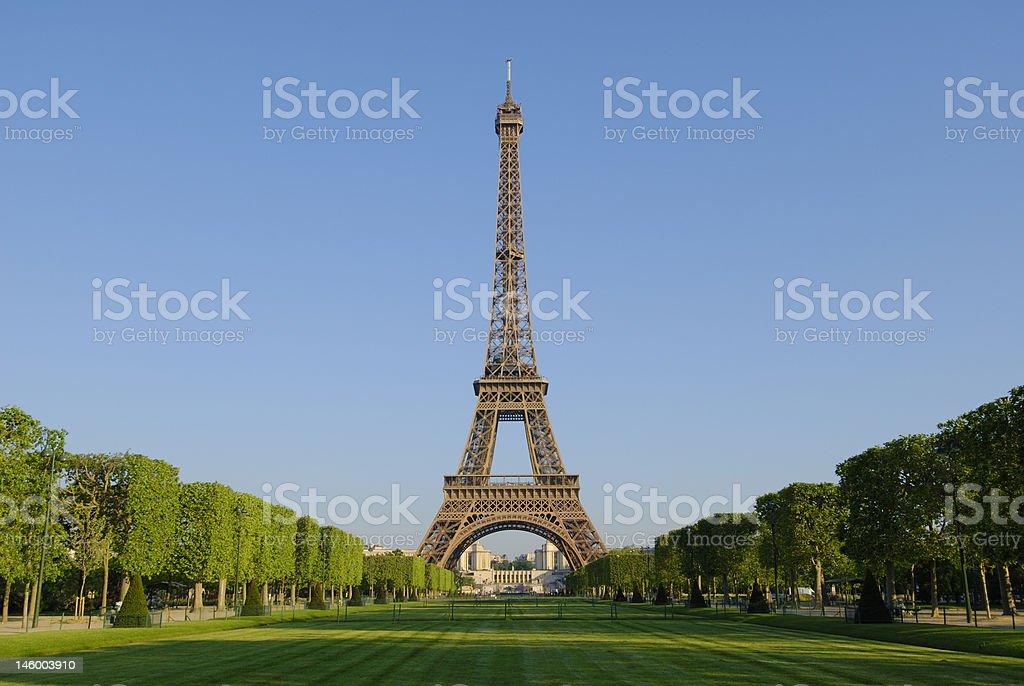 Eiffel Tower at sunrise stock photo