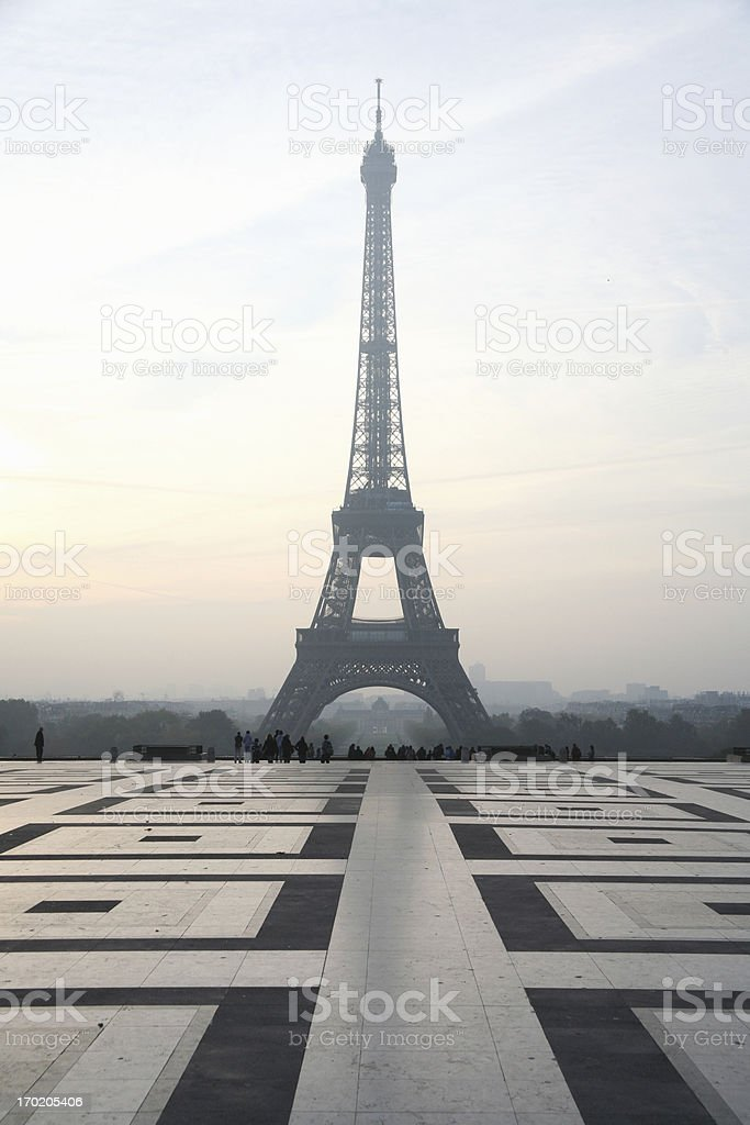 Eiffel Tower at sunrise stock photo