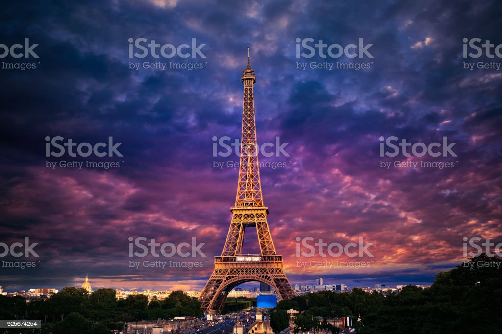 Eiffel tower at sunset Paris France stock photo