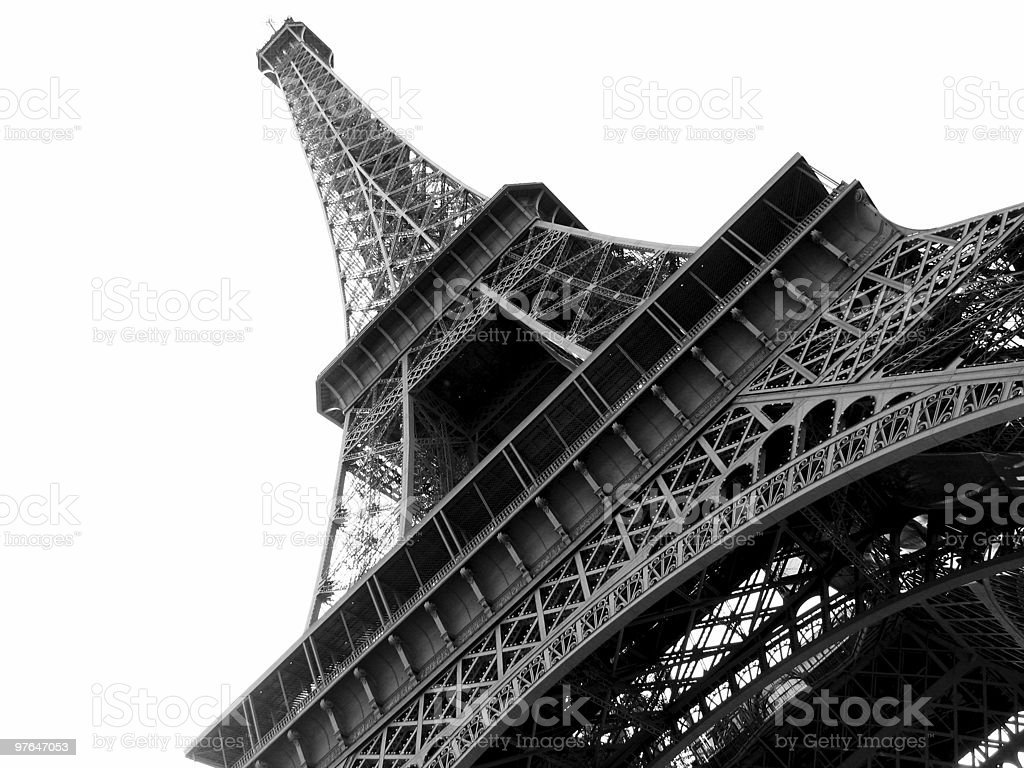 Eiffel Tower Black and White royalty-free stock photo
