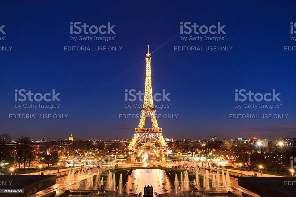 Eiffel tower blue lights stock photo