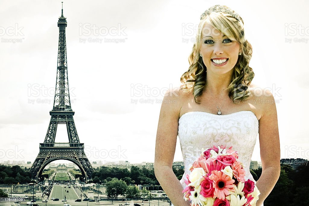 Eiffel Tower Bride royalty-free stock photo
