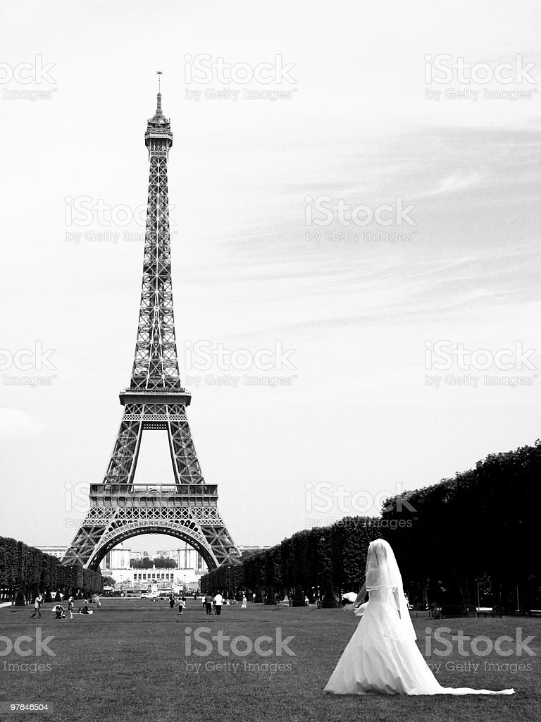 eiffel tower b/w with bride royalty-free stock photo