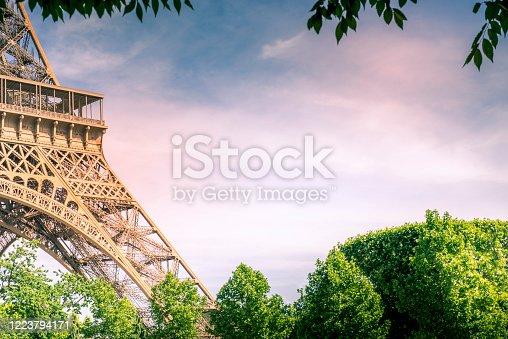 Part of Eiffel time with half image for a copy space