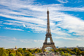 Eiffel tower during autumn sunny day in Paris, France.