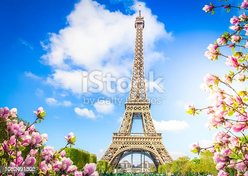 Eiffel Tower in sunny spring day in Paris, France, retro toned