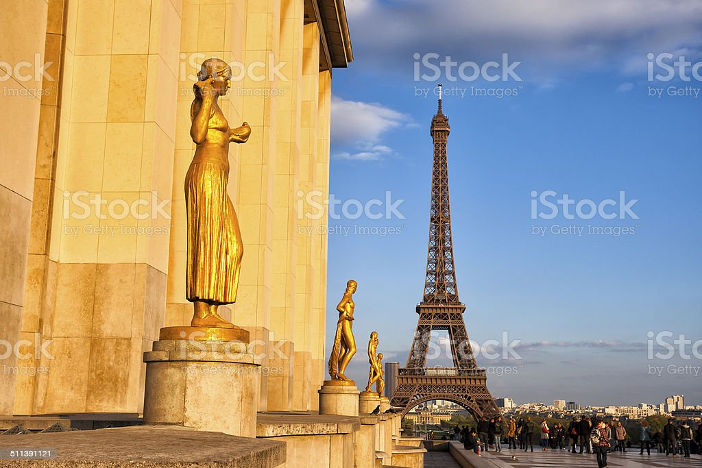 Eiffel Tower From Trocadero in Paris, France stock photo