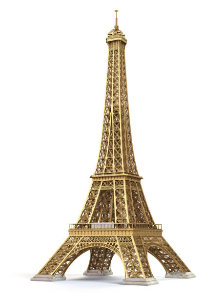 eiffel tower golden isolated on a white background. - souvenir foto e immagini stock