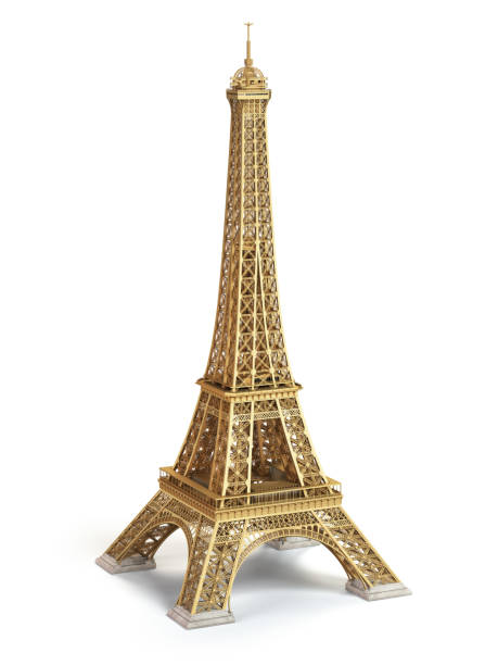 Eiffel Tower golden isolated on a white background. stock photo