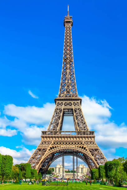 eiffel tower in a sunny day in paris - eiffel tower stock photos and pictures
