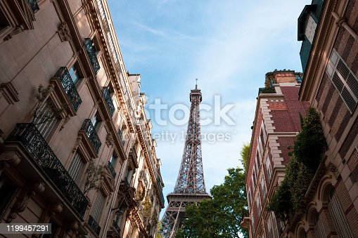 Eiffel tower in central Paris between residential old architecture buildings