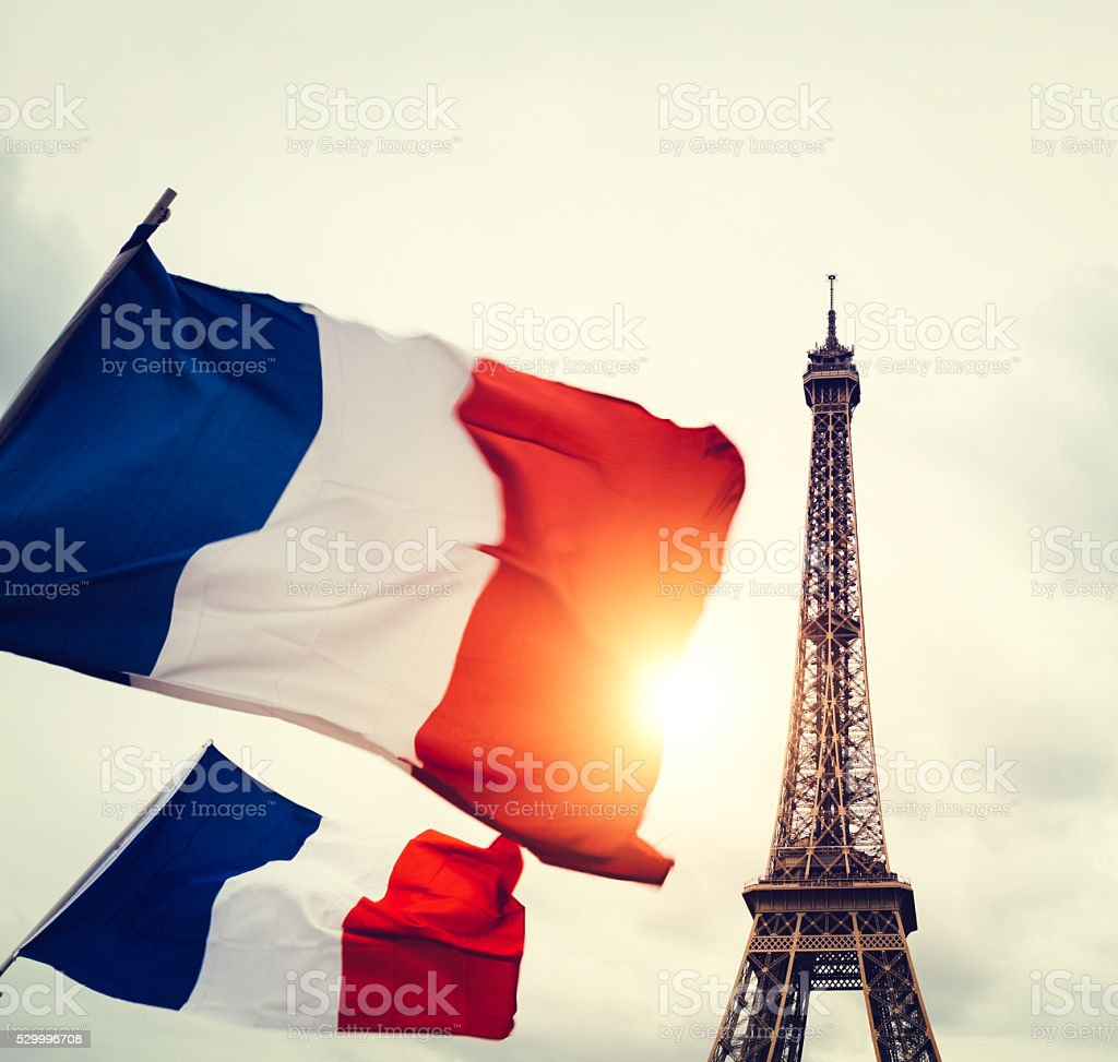 Eiffel Tower In France With Flags stock photo