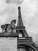 A statue of the Jena Bridge, depicting the horse of the Gallic warrior, with the Eiffel Tower in the background. Photographed in Monochrome in Paris, France