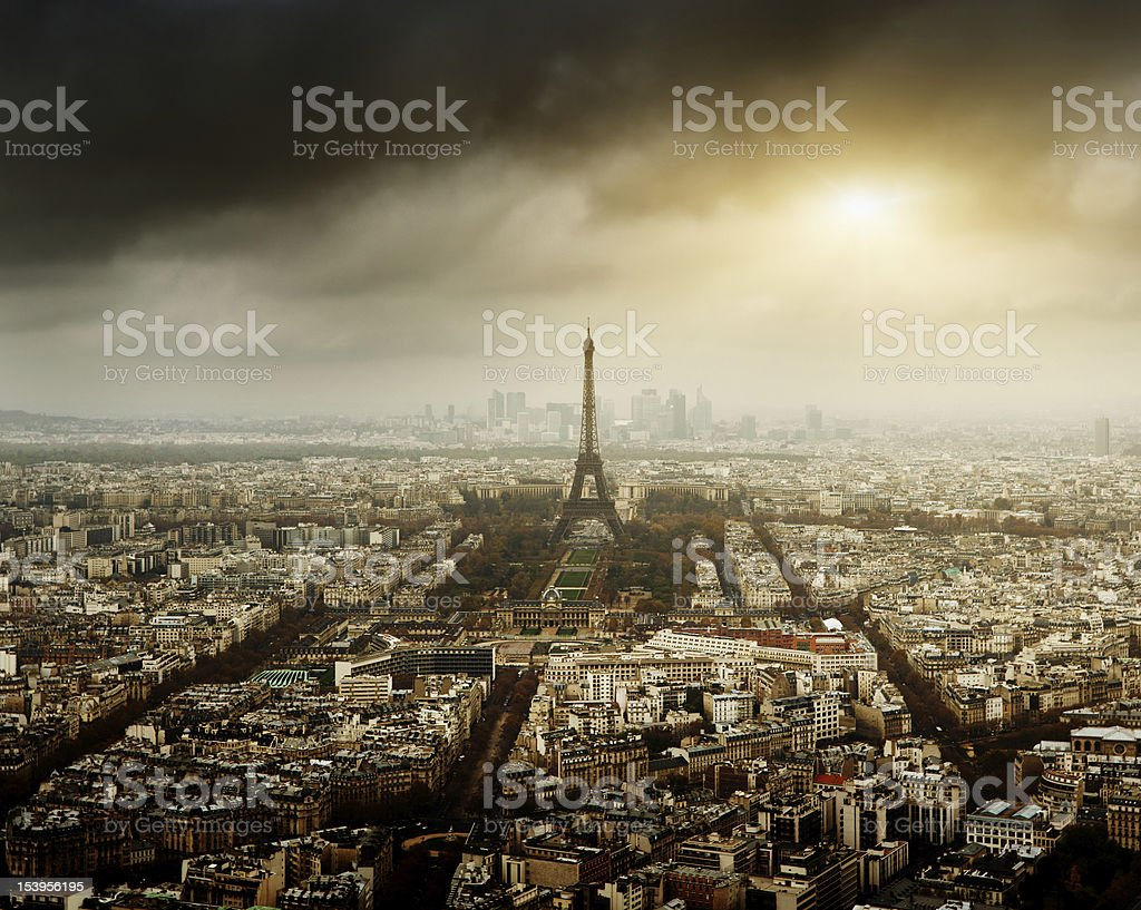eiffel tower in Paris and stormy sky royalty-free stock photo