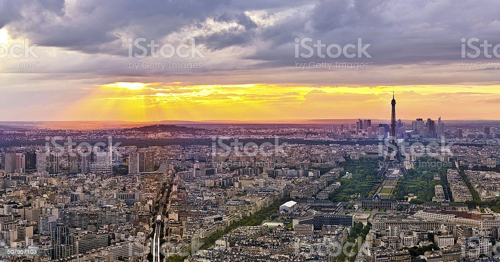 Eiffel Tower in Paris at atmospheric dusk royalty-free stock photo