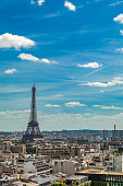Aerial view at Eiffel Tower taken from the viewing platform of Arc de Triomphe in Paris, France