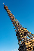 Eiffel Tower in Paris intentionally tilted in Paris, France.