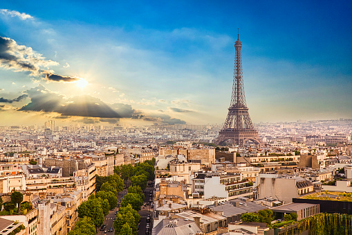The Eiffel Tower in the Paris Skyline at Sunrise