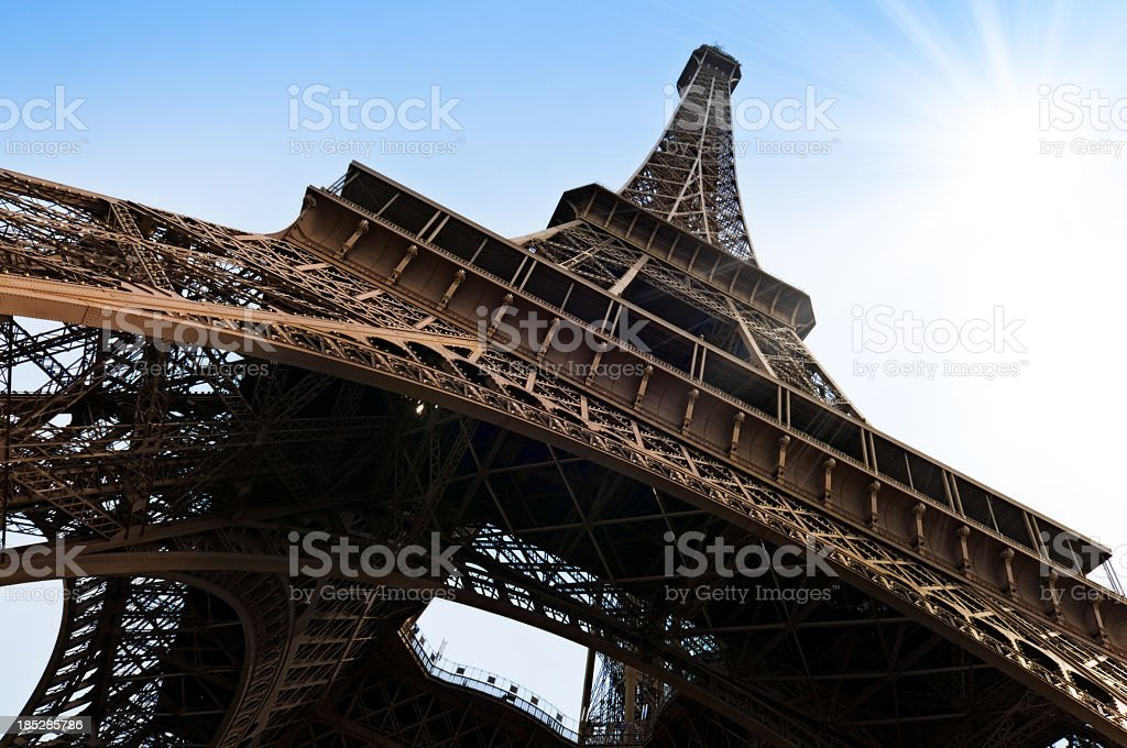 Eiffel Tower in Paris with nice sunburst stock photo