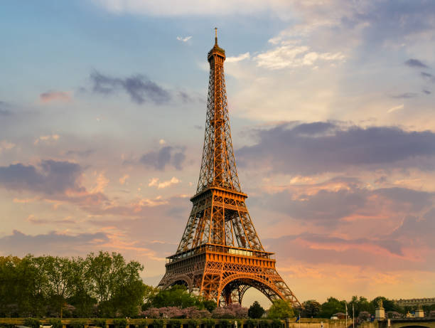 Eiffel Tower in springtime on the sunset stock photo