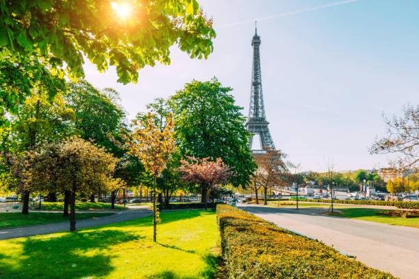 eiffelturm im frühling, paris, frankreich - paris sommer stock-fotos und bilder