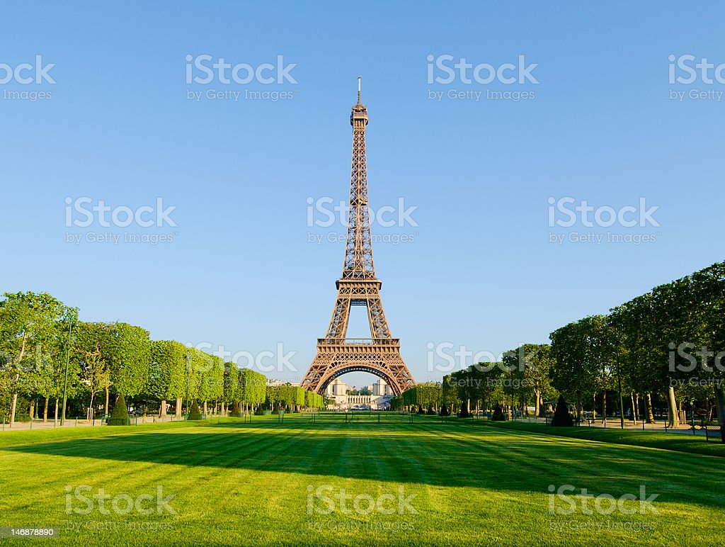Eiffel Tower in sunlight stock photo